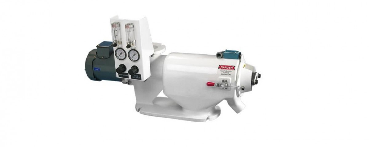 NRPS-200 rotary powder sieve shown with optional air flow control panel